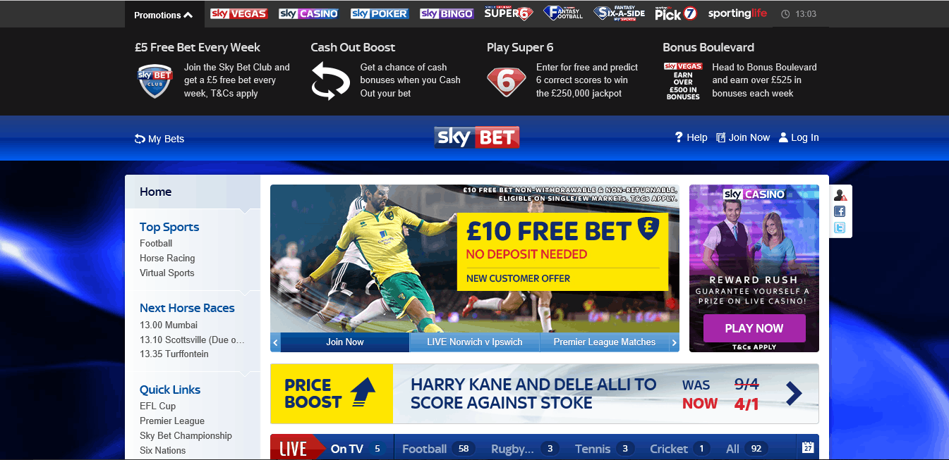 Skybet Bookmaker Home
