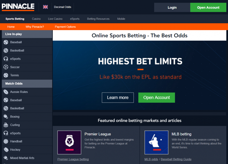Pinnacle Sports Bookmaker Home page screen shot and Review