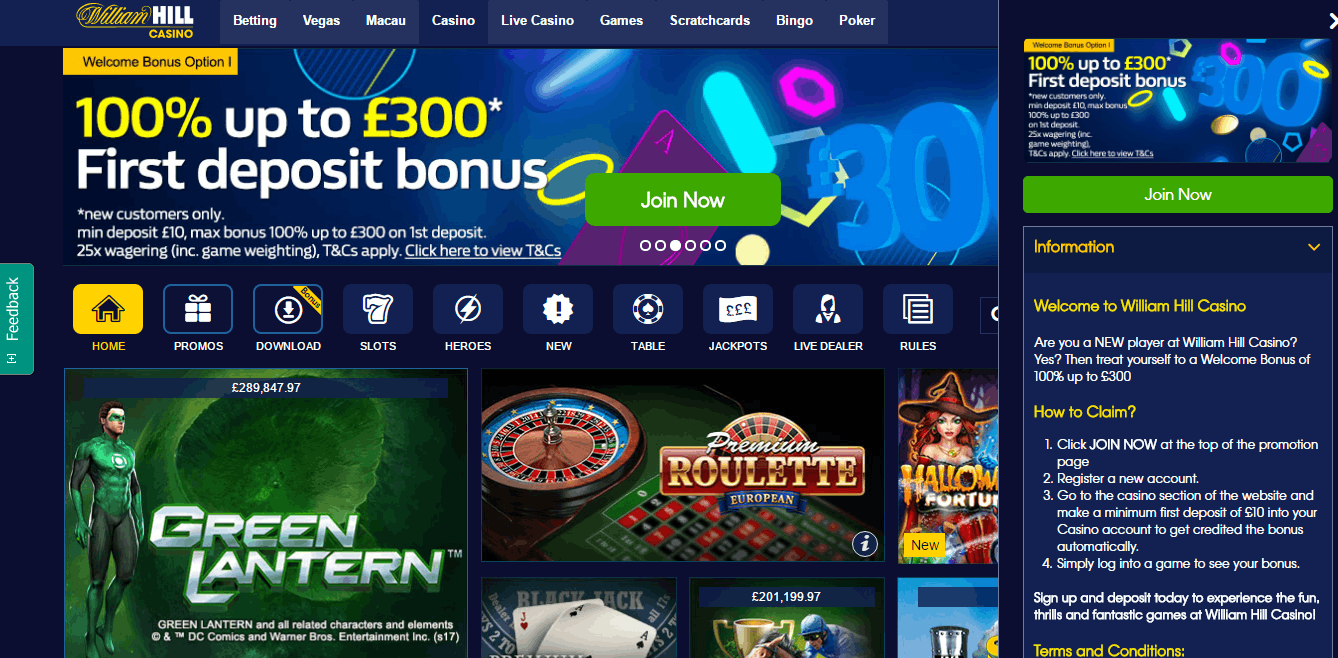 william hill casino sign up code