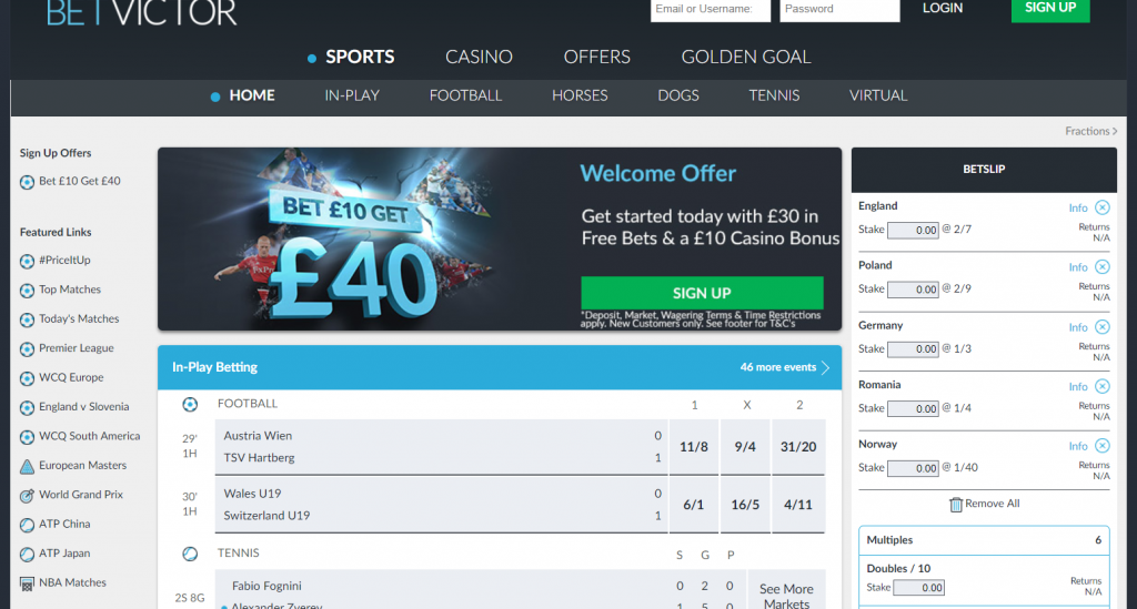 BetVictor Betslip shown in the Sports section