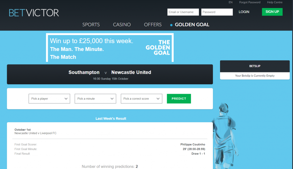 BetVictor Golden Goal competition
