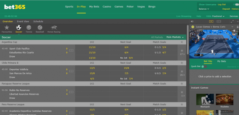 Live betting bookmakers