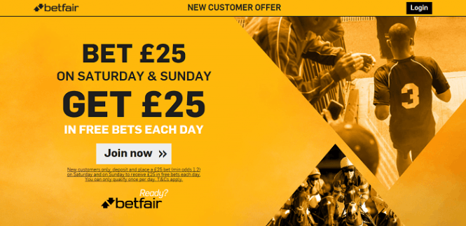 Betfair Bet 25 Get 25 Offer this weekend only for New customers