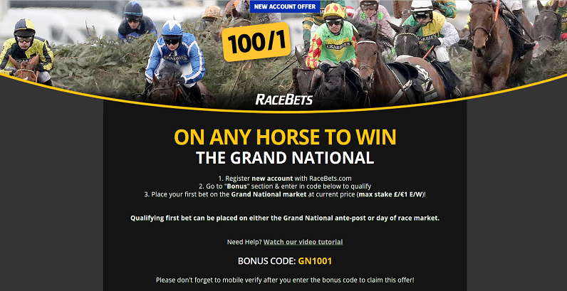 100/1 on ANY Grand National Horse 2017 Offer at Racebets