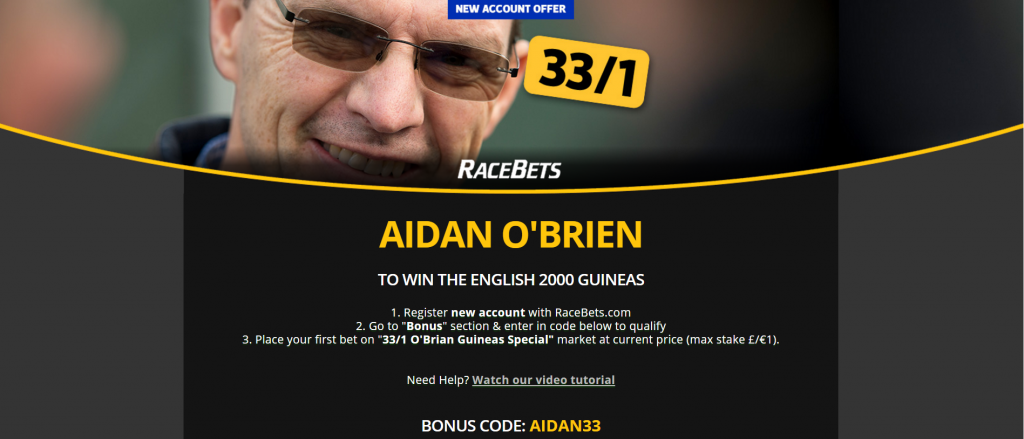 Aidan O'Brien 33/1 to Win the 2000 Guineas