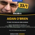 Aidan O'Brien 33/1 to Win the 2000 Guineas