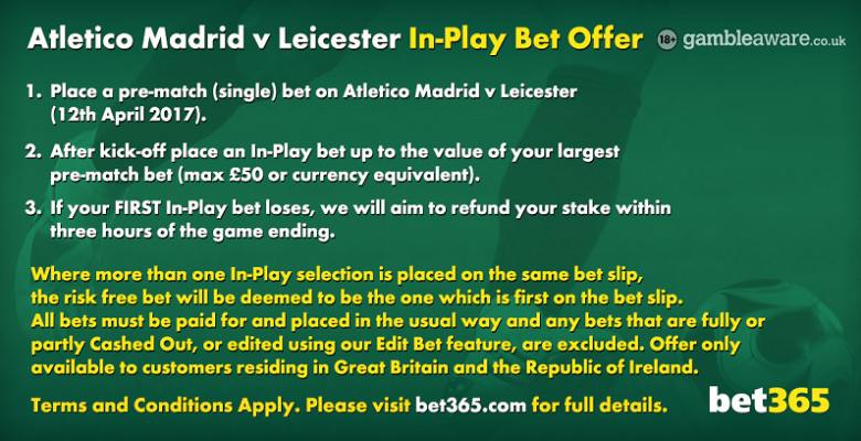 AtleticoMadrid-v-Leicester In-Play bet offer