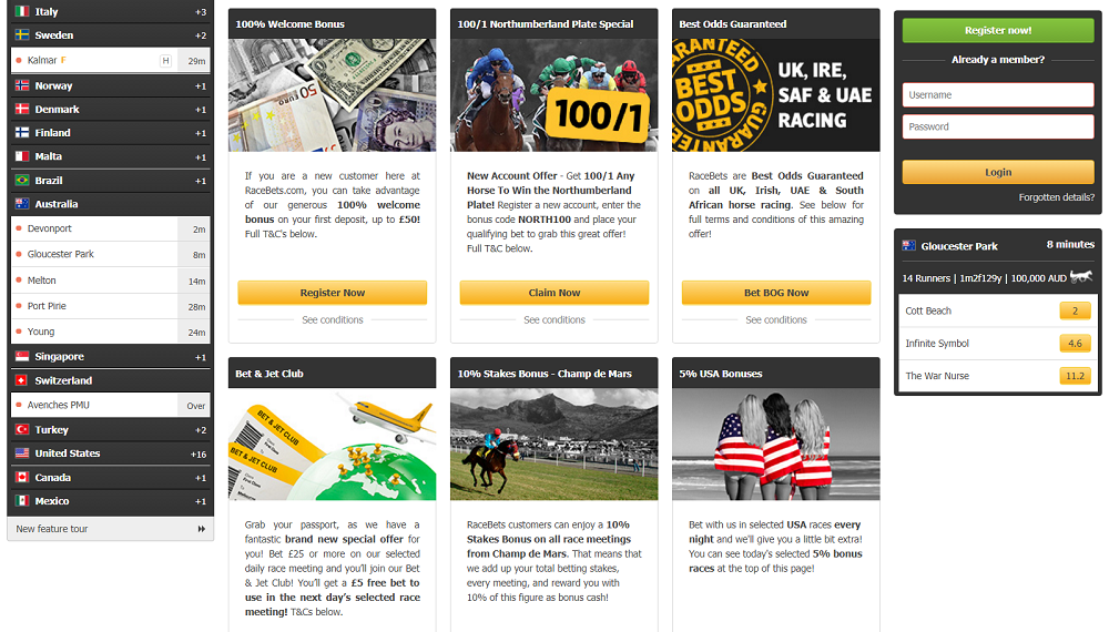 Racebets promotions including free bet