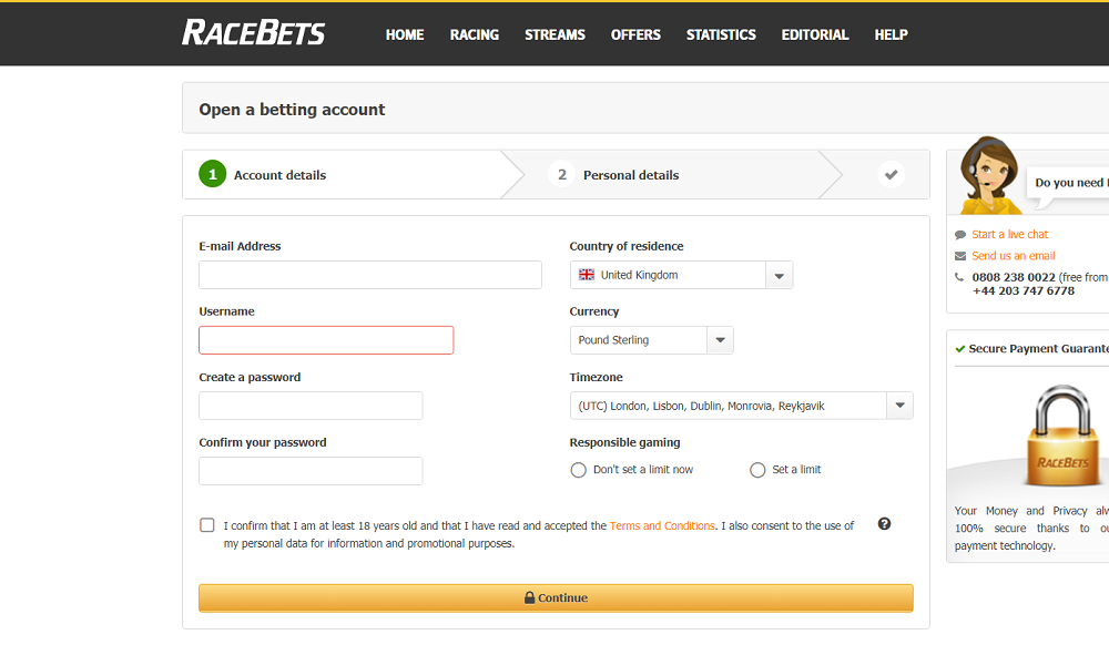 Racebets Open a betting account