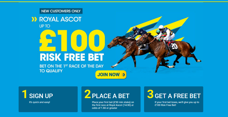 100 Risk Free Bet Royal Ascot Day 1