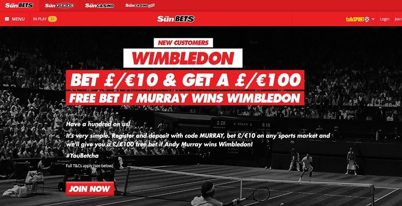 Andy Murray Bet 10 Get 100 free bet if he wins Wimbledon 2017