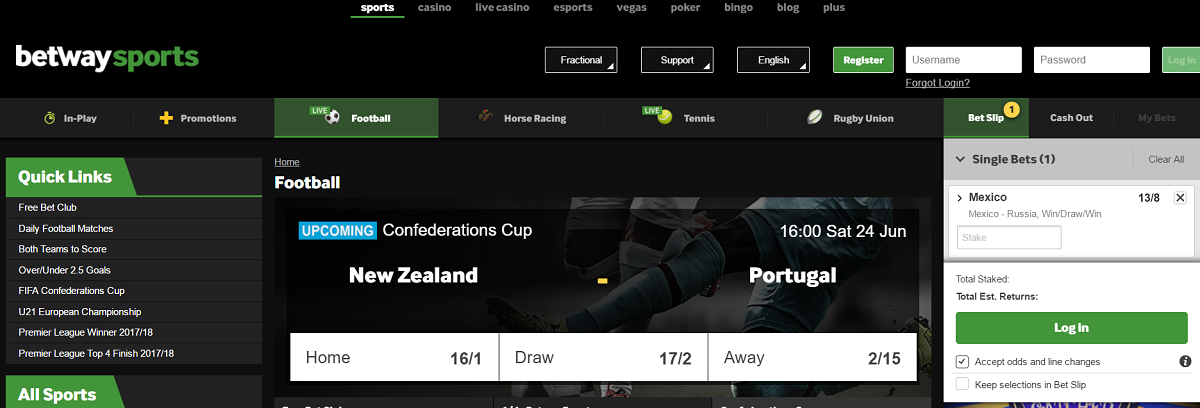 Betway Review of betting slip