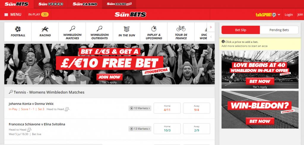 Sun Bets betting interface