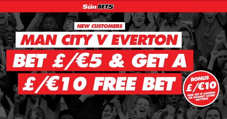 Man City v Everton Free Bet If Aguero or Rooney Score