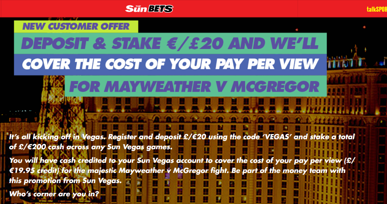 Watch Mayweather vs Mcgregor PPV Cost Free at Sun Casino