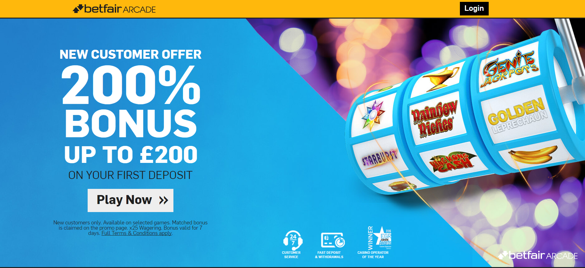 Betfair Arcade Bonus 200% up to £200 up for grabs to new players