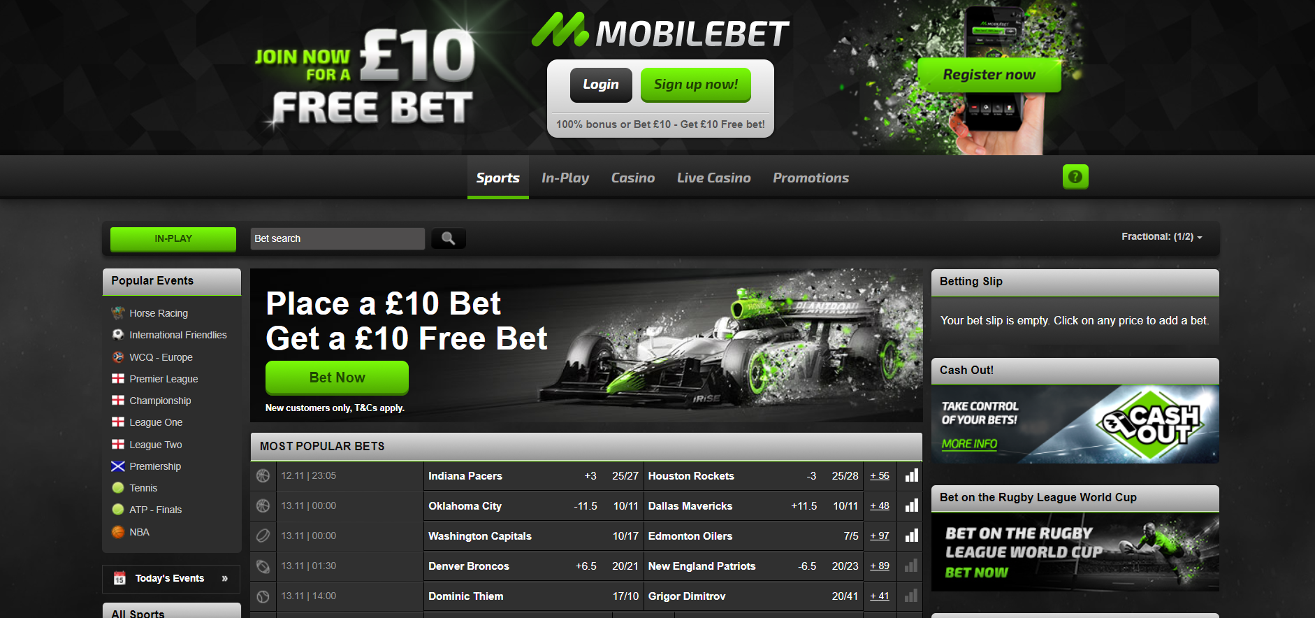 Mobilebet Review and Free Bet - Bet £10 Get £10 Bookmaker