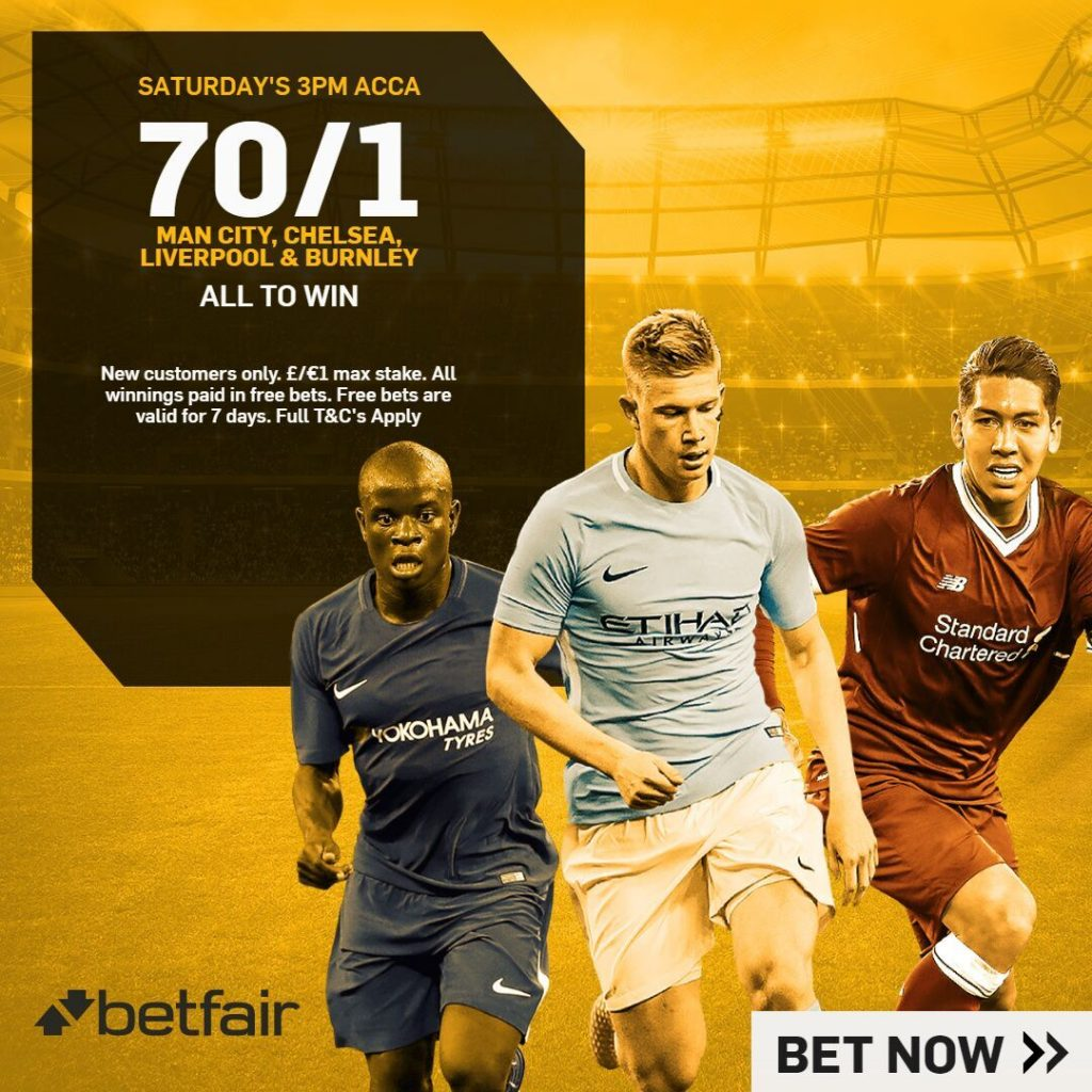 Betfair Acca for this Weekend pays out at 70/1