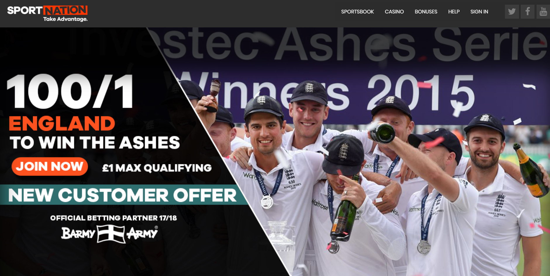 England 100/1 to win Ashes Test