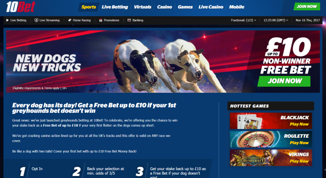 Greyhound Racing Bet - up to £10 back if it doesn't win