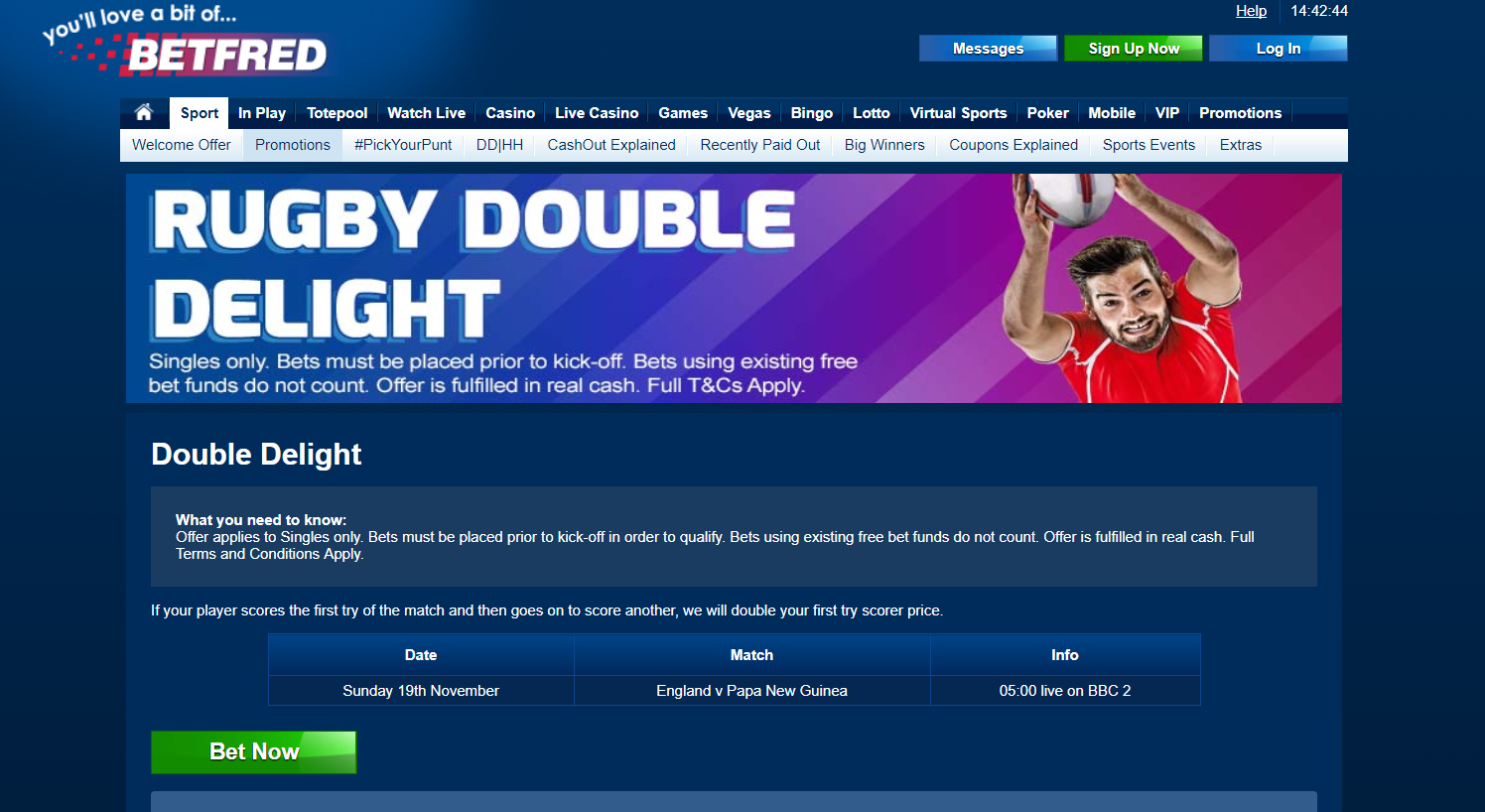 Rugby Tries Betting Odds Doubled at Betfred