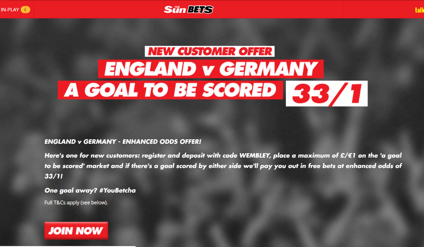 Sun Bets Offer - 33/1 on a goal to be scored in Friday's England v Germany