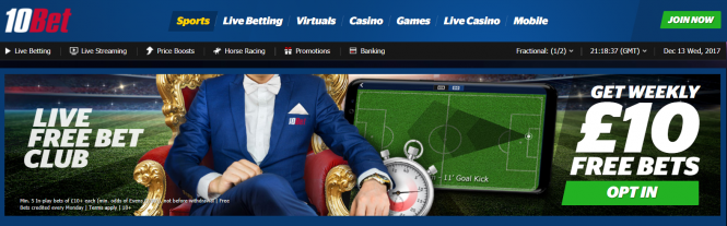 Live Betting - Get a Free £10 Live Bet Every Week