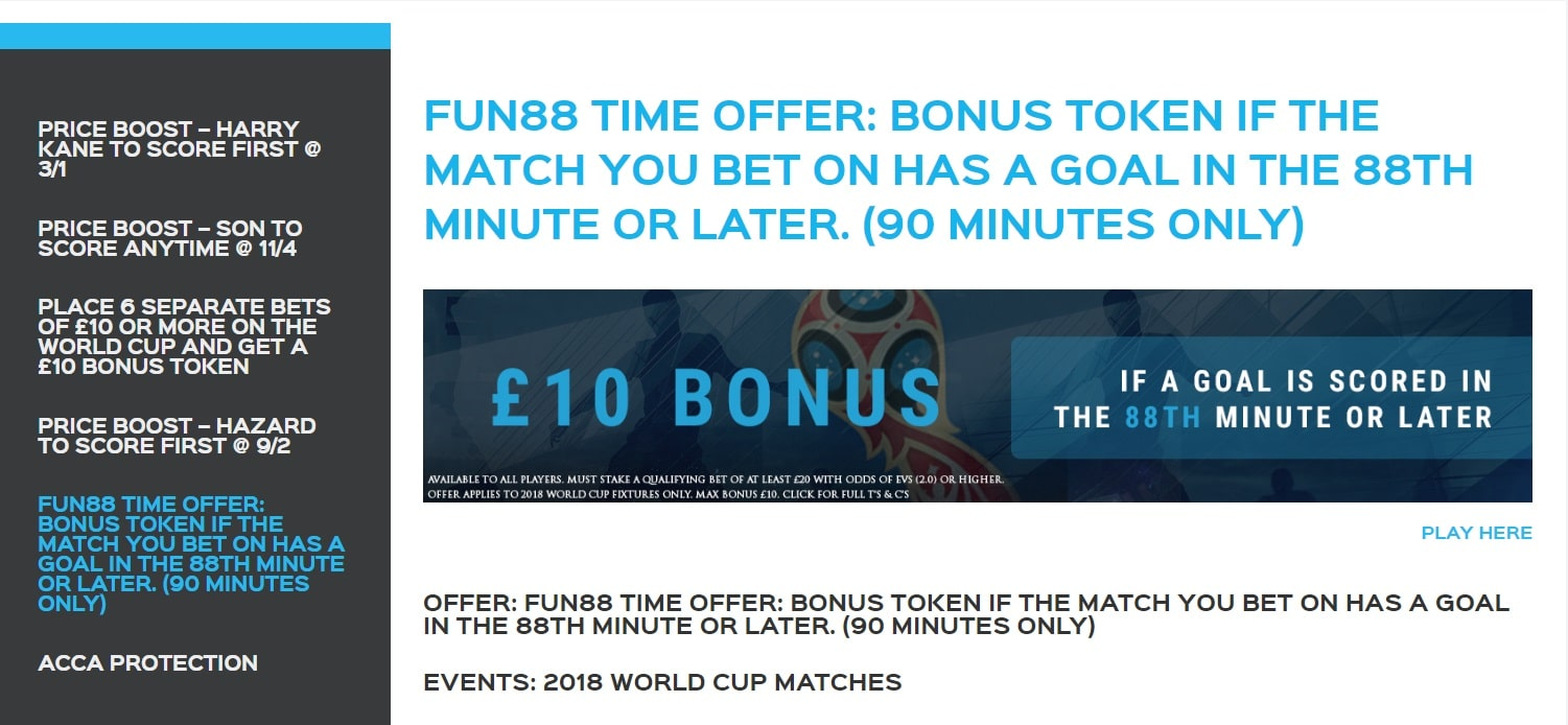 Fun88 Late Goal Free Bet Offer