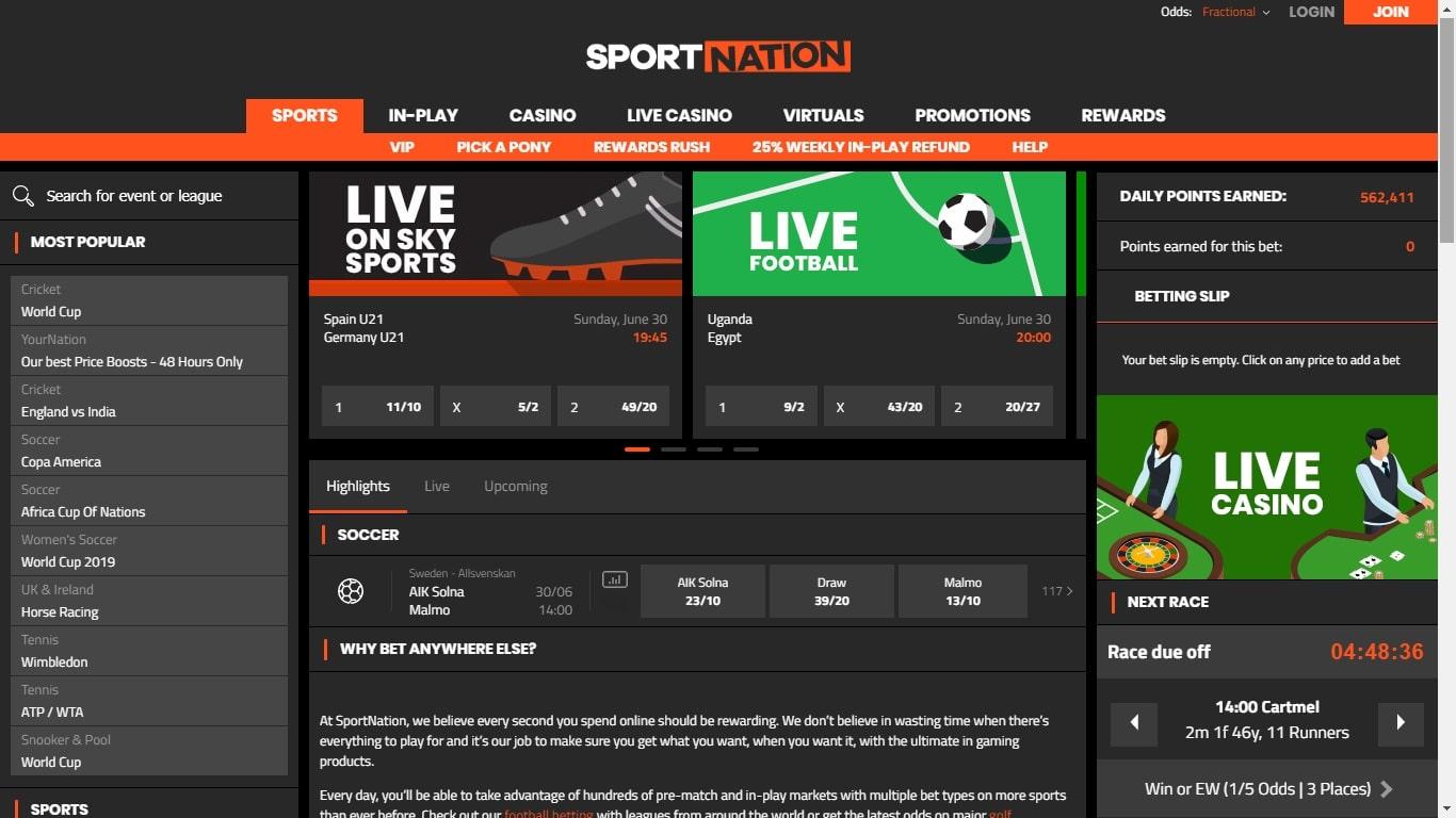 Sportnation free bet Review