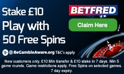 Betfred 50 Free Spins Offer at the Casino