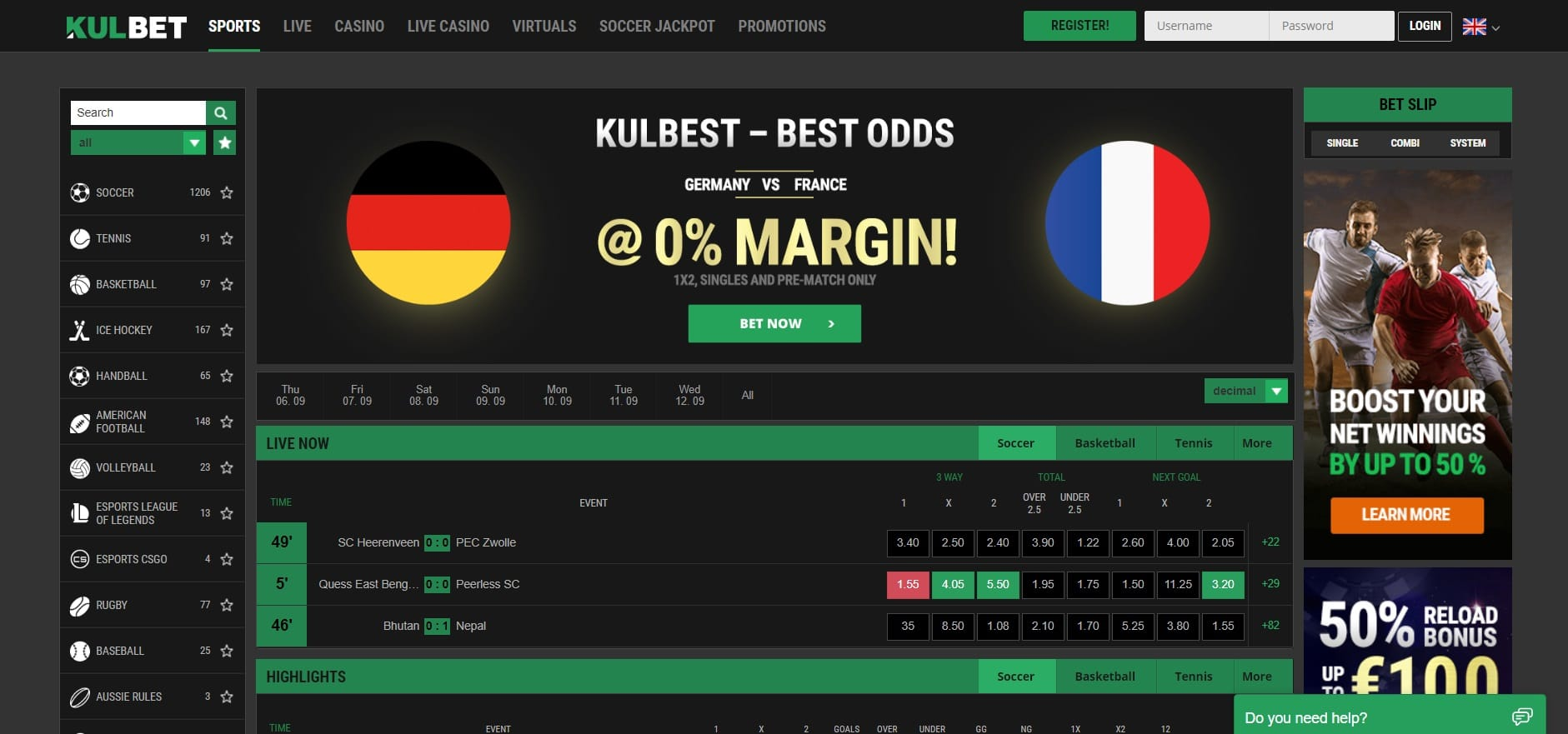 Bookies with Best Football Odds: KULBET – 0% MARGIN