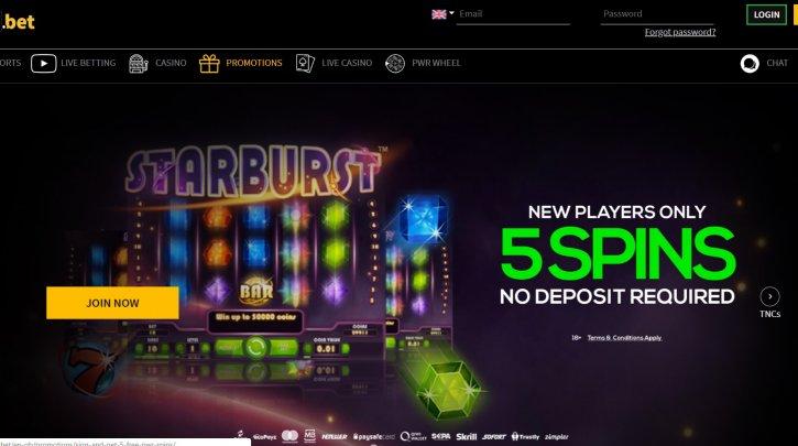 Pwr Bet Casino No Deposit Offer