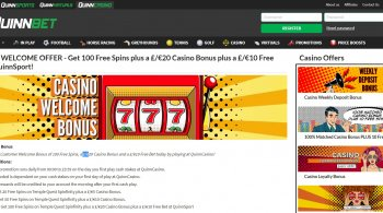 Quinnbet Casino Bonus and 100 Free Spins Offer