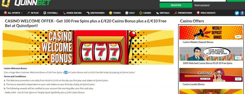 Quinnbet Casino Bonus: Up to 100 Free Spins on Temple Quest Spinfinity