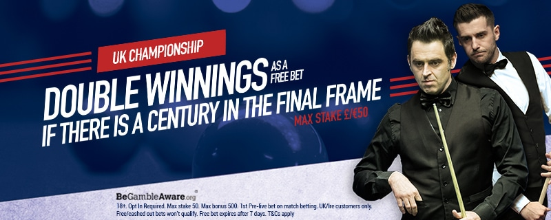 Snooker Betting Free Bet – DOUBLE Winnings on the UK Championship