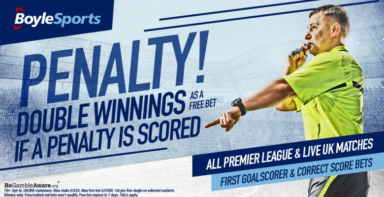 Boylesports Football Specials – DOUBLE Winnings If there's a Penalty Scored