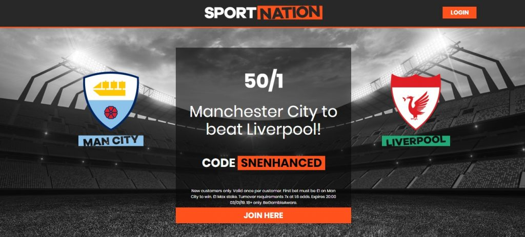 Manchester City to beat Liverpool Enhanced Odds at 50/1 with Sportnation