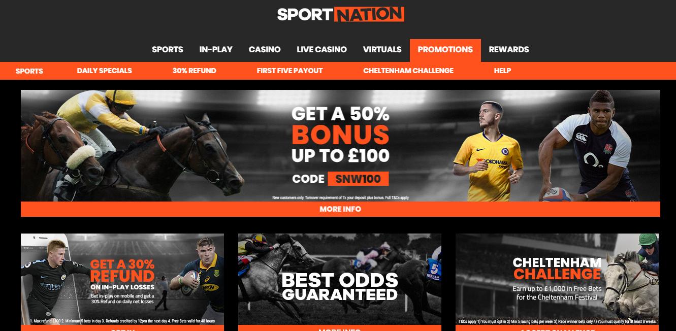 Sportnation Cheltenham Free Bets Offer for Existing customers