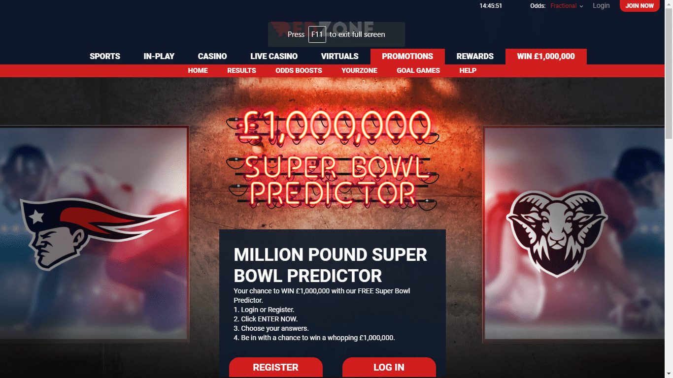 Million Pound Super Bowl Predictor comp at RedZone sports