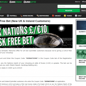 Six Nations Betting Offers convert a £10 Risk free Bet at Quinnbet