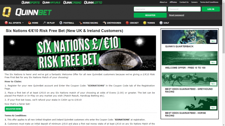 Six Nations Betting Offers convert a £10 Risk free Bet at Quinnbet