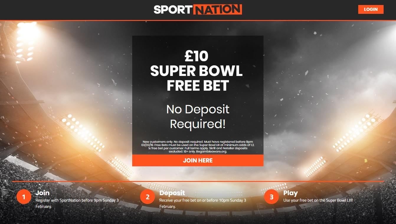 Super Bowl £10 Free Bet No deposit