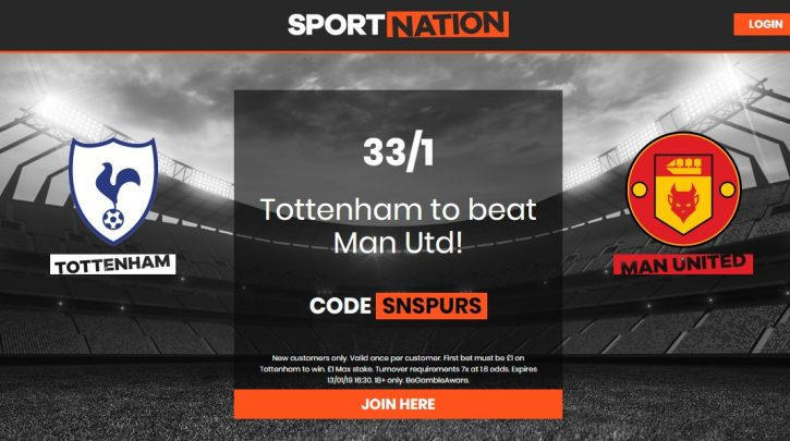 Tottenham to beat Man Utd at 33/1 Enhanced Odds for the Premier League game on Sunday