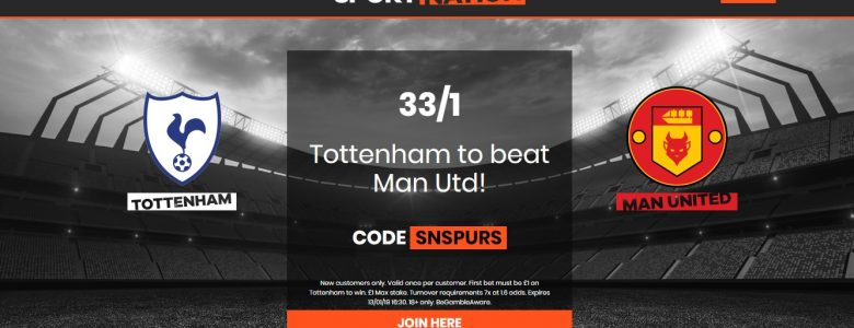 Tottenham to beat Man Utd at 33/1 Enhanced Odds with Sportnation