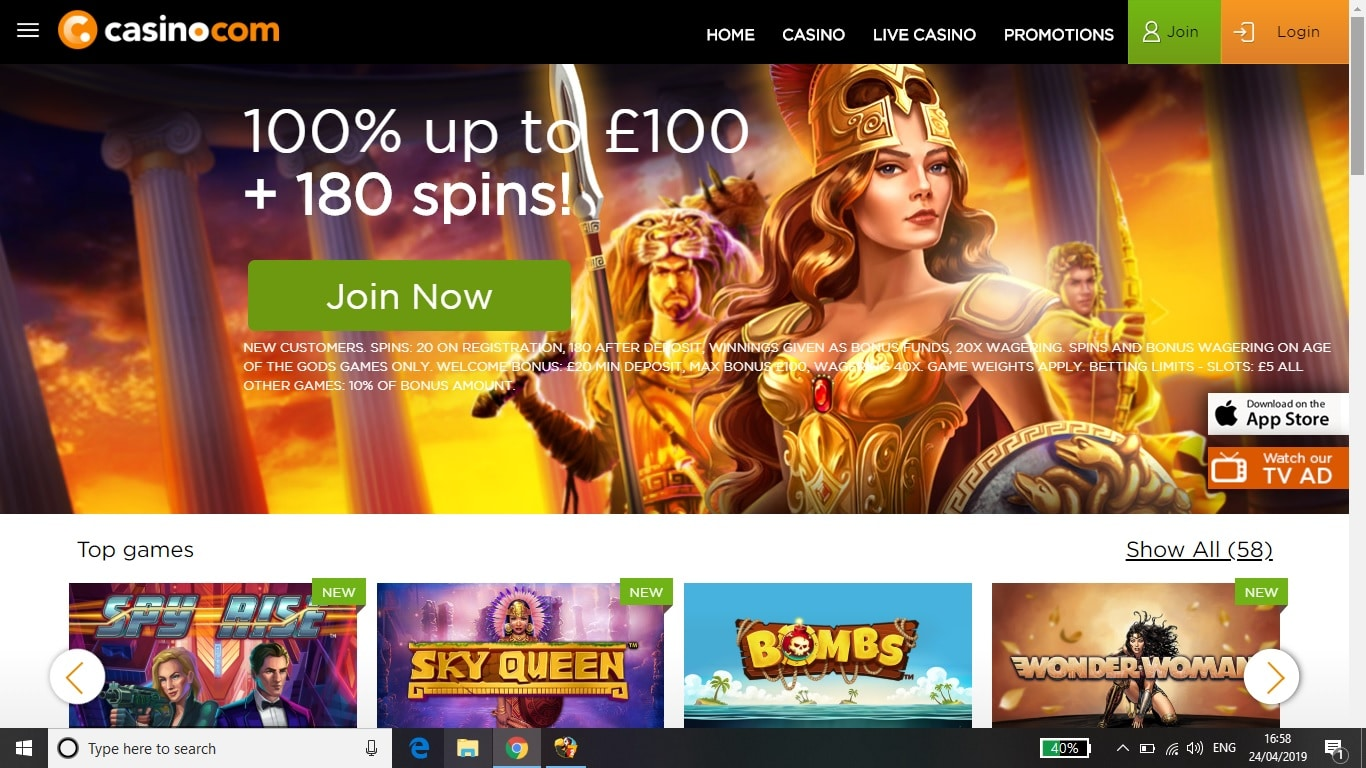 Casino.com Review of Bonus and casino betting site