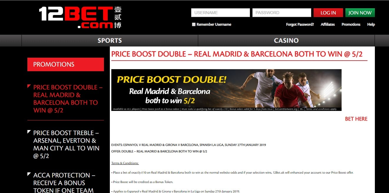 La Liga Enhanced Odds Offer 12Bet