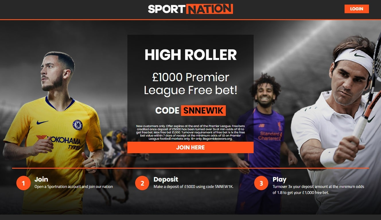 Sportnation High Roller Bonus gets you a £1000 Free Bet