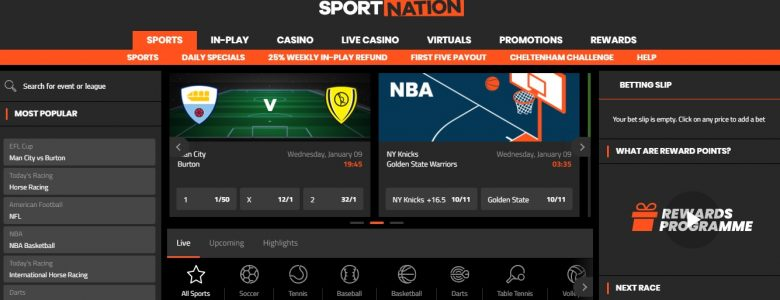 In Play Bet Offer for Existing customers at Sportnation – 25% Back on Losses Up to £100 Free Bet per week