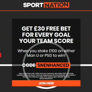 £30 Free Bet every time your team scores in Man United vs PSG