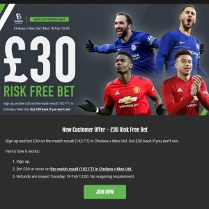 Risk Free Bet from Fansbet - £30 Back if you lose on Chelsea v Man Utd